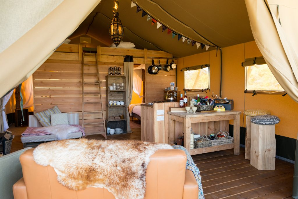 Ragged Stone glamping lodge interior